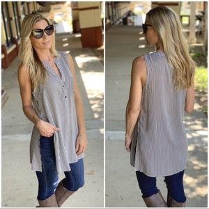 Black and White Striped Sleeveless Button Down Top